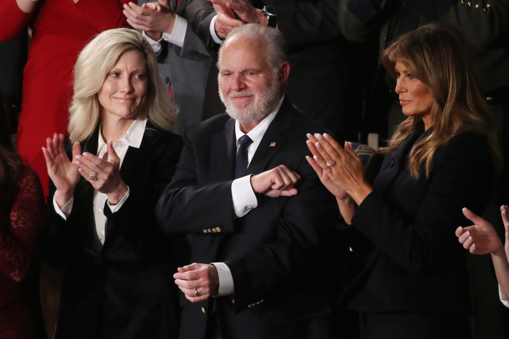 Rush Limbaugh and wife Kathryn Adams Limbaugh attend the State of the Union address | Mark Wilson/Getty Images